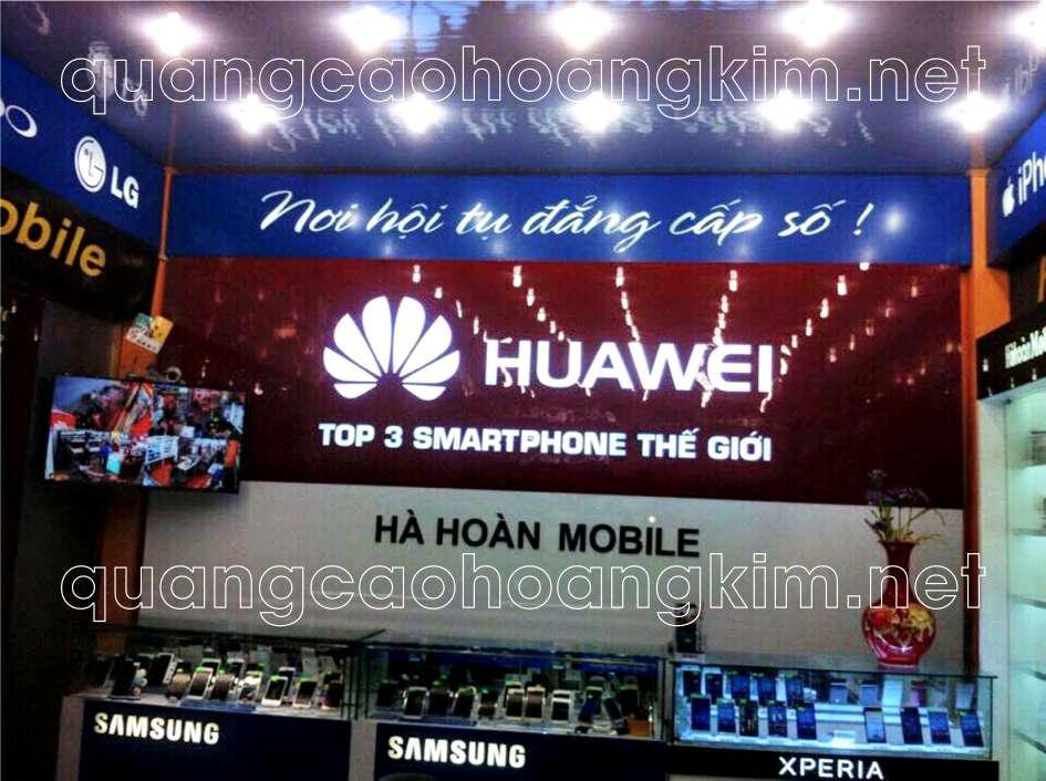 backdrop quầy lễ tân cửa hàng điện thoại