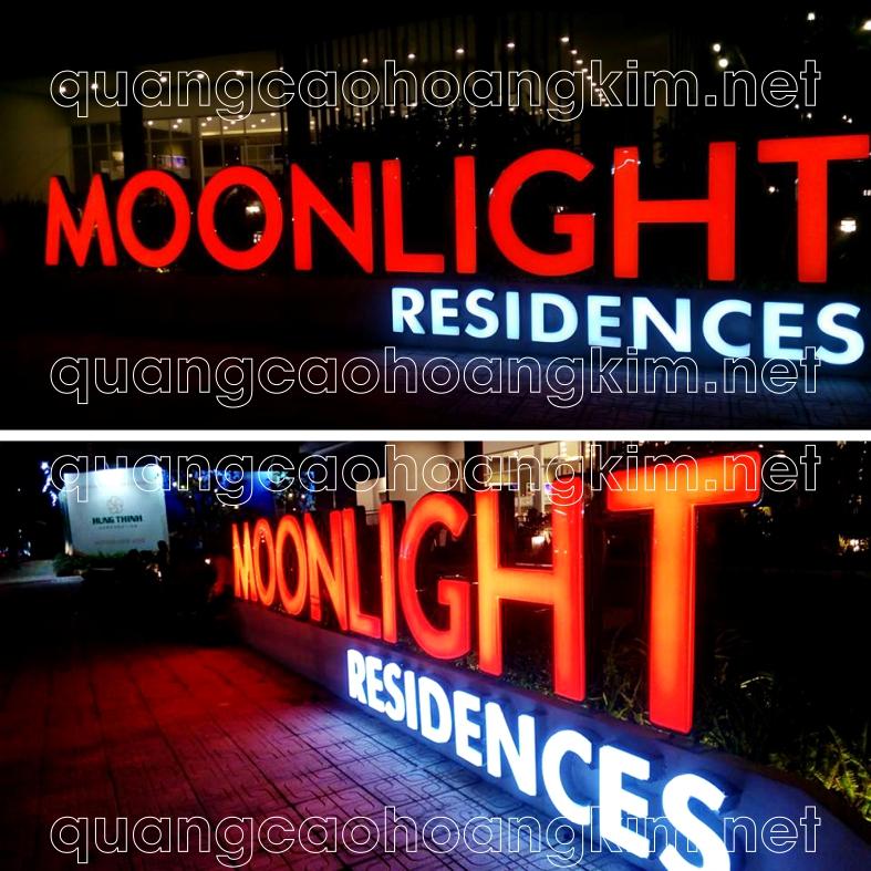 biển chữ nổi tòa nhà bằng chữ mica hút nổi viền inox đèn led