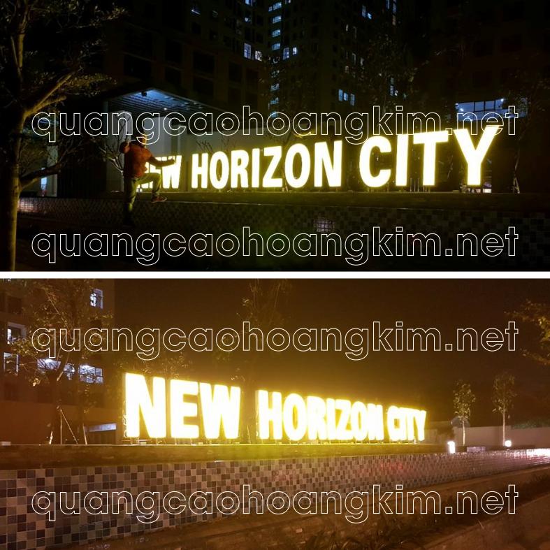 biển chữ nổi lắp đặt cổng tòa nhà chữ hút nổi mica viền inox đèn led