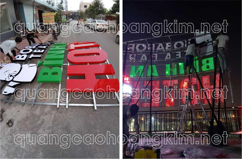 biển quảng cáo chữ nổi trên nóc tòa nhà chữ nổi alu cắm đèn led
