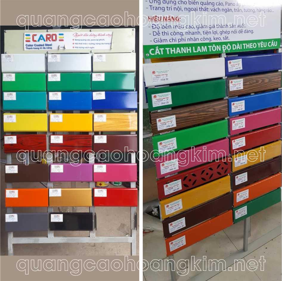 bảng mã các màu vật liệu của thanh lam tôn quảng cáo